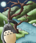 Totoro Beneath The Moonlight by FeebyNeko