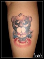 Cute Angry Bear Tattoo by kwickrodrigues