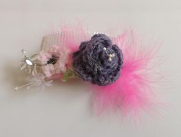 Crochet Glass Beaded Hair Comb by creativecrochetdesig