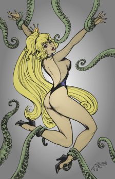 Princess Daphne In Tentacles Lair By Steve O Reno  by xaenon