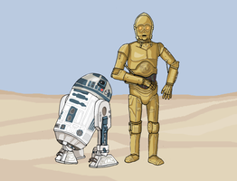 Star Wars - C3PO and R2D2 by Juggernaut-Art
