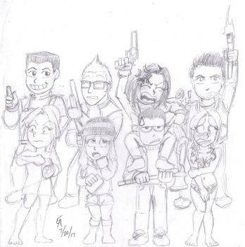 Until Dawn quick main cast sketch by mayorlight