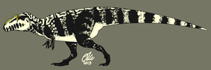 Black and White Giganotosaurus by StygimolochSpinifer