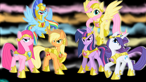 MLP:FiM NRG Mane 6 Desktop Background (1920x1080) by atomic7732