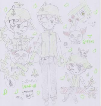 Boboiboy Galaxy: Boboiboy Leaf and Cattus by Xierally