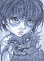 ACEO - Child With Cat Creature by KootiesMom
