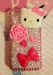 Pink Hello Kitty and Pearls Decoden iPhone Case by pinkDudu