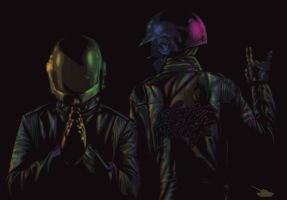 Rock On Daft Punk: On Black by TankArtist
