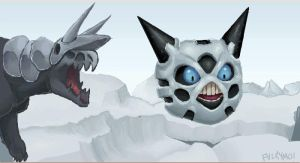 Aggron chasing Glalie