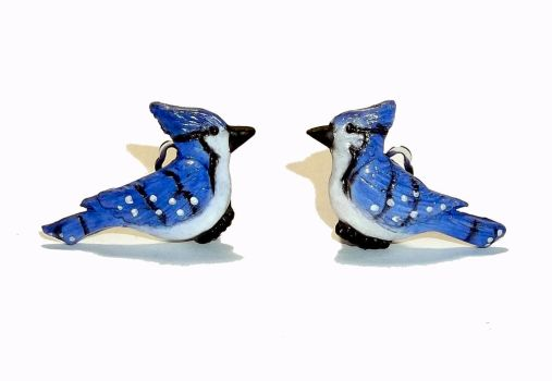 Blue Jay Earrings- Handsculpted with Polymer Clay by CraftMuse