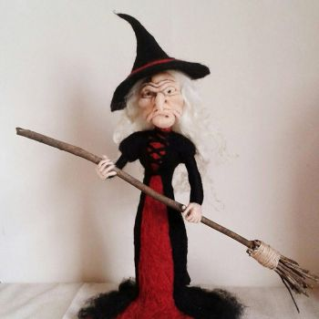 Needle Felted Witch Figurine by HeartfeltCreations