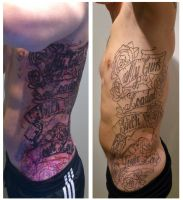 Outlines left side tattoo by CORHIN