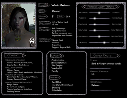 Valerie Skyrim Character Sheet by Demicus-Maximus