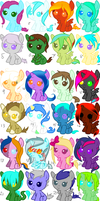 HUGE baby pony point adoptable batch! by Lolzeeh