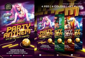Party Anthem Nightclub Psd Flyer Template by dennybusyet