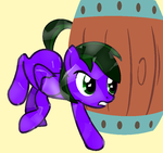 Crystal Lightning Rocker hiding behind a barrel by LR-Studios