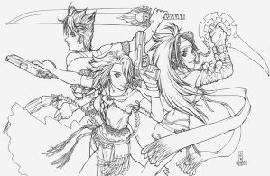 FFX-2 Girls-lineart by DreamworldStudio
