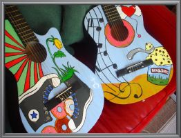 Painted guitars by me ' by BlackDrawing