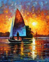 SUNSET BY THE LAKE by Leonid Afremov by Leonidafremov