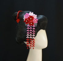 Pink and Red Blossom Medley Kanzashi 247 by japanesesilkflowers