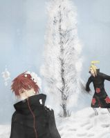 Snow fight: Deidara+Sasori by gtxoxo