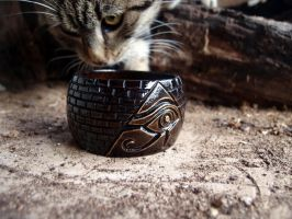 Bracelet with Horus Eyes (and my cat, Lemmy :)) by Ljotunnr