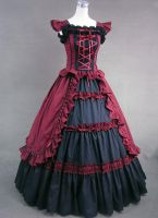 Black and Red Classic Gothic Victorian Dress by jdoris009