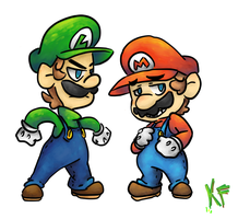 Mario and Luigi by Kirafrog