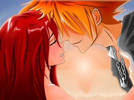Sora and Kairi's Sunset by llsektorll