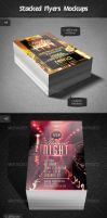 Stacked Flyers Mockups by Kamarashev
