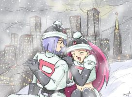 Winter in the City-Team Rocket by Chamel413