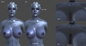 Mass Effect - Liara (Nude) Retextured Female Parts by xradeckx