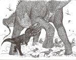 Feathered T-Rex vs Alamosaurus by HodariNundu