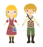 Link and Zelda Skyward Sword chibis by NayadeLimnatide