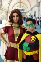 Mary Marvel and Damian Wayne at SDCC '14 by FloresFabrications