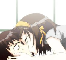 The Kiss of Haruhi Suzumiya by bluey-hui
