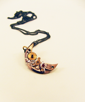 Steampunk Crescent Moon Necklace - Take Two by GildedGears