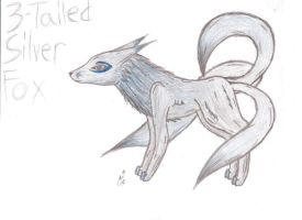 3-Tailed Silver Fox by LumiTheWolf