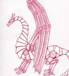 Red Ballpoint Steampunk Dragon by TheDraconian