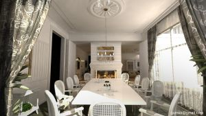 Dining Room with Fireplace by 1zmim