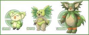 Grass Starters - Ostor Region by Yoru-no-Angel