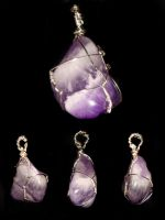 Amethyst stone wrap pendant by Emusa