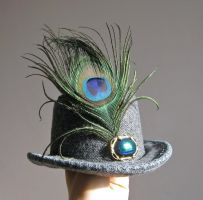 Steampunk jeweled mini top hat, tweed and peacock by ProfessorBats