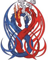 red and blue dragons by HARDCORECRACK
