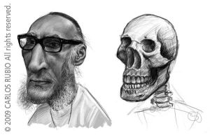 Caricature with skull by CarlosRubio