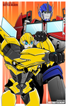 Commission: Bumblebee and Optimus by justabitscrewy