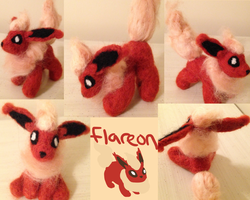 Flareon Posable Needle Felt by the-pink-dragon