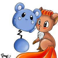 Vulpix and Azurill by Sukesha-Ray