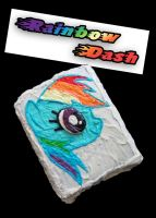 Rainbow Dash Cake by bakingponies