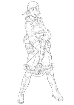 Pirate Lady Line Art by mikenart